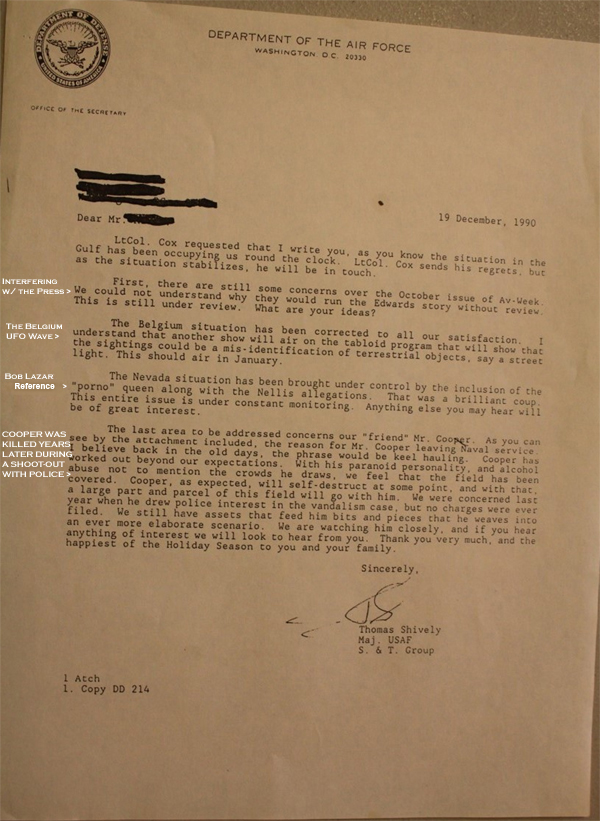 US AirForce UFO Letter